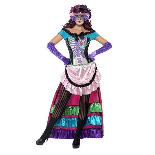 SMIFFYS Giorno di Smiffy del cranio Costume Morto Zucchero con il treno, Lace corsetto e Maschera per gli occhi - Rosa, media
