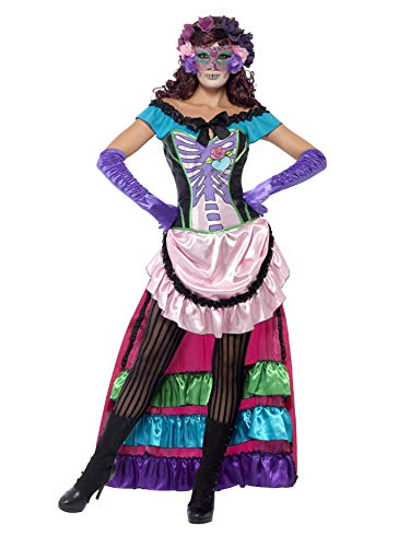 Smiffys womens Day Of The Dead Sugar Skull Costume,Pink,M - US Size 10-12