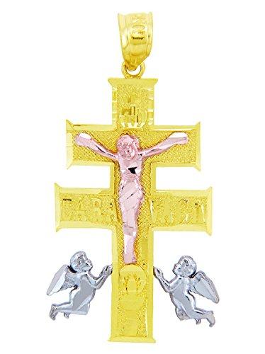 14 quilates 585/1000 3 colores Oro Crucifijo Caravaca Cruz Colgante collar (Libro Con Cadena 45cm)