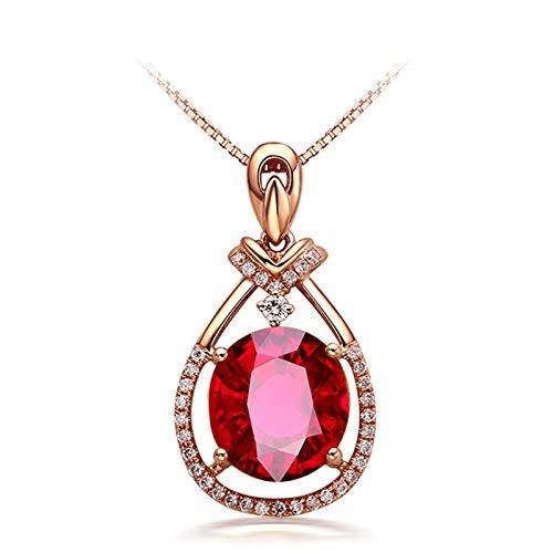 Daesar 18K Oro Rosa Collana Donna 3.8ct Lacrima di Tormalina Rossa Ovale Collana con Diamanti Ciondolo Collana Donnacollana Ragazza Amicizia
