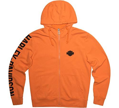Harley-Davidson - Felpa con cappuccio da uomo, vestibilità aderente, con zip, colore: Arancione - arancione - XX-Large