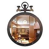 LYN Wandspiegel,Badspiegel,Badezimmerspiegel, Retro Chic Industrial Design Metall Wandbehang große runde Spiegel Eisen Wasserhahn for Bar 50CM