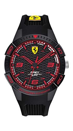Ferrari 0830747 - Reloj de cuarzo para hombre con correa de silicona, color negro, 18 (modelo: 0830747)