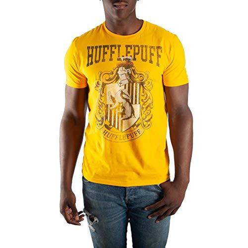 Harry Potter Hufflepuff House Crest Mens Yellow Hogwarts T-Shirt (Large)