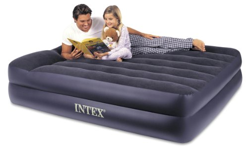 Intex Pillow Rest Raised Airbed with Built-in Pillow and Electric Pump, Queen, Bed Height 16.5'