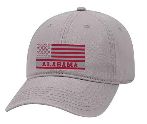 Football Team Colors American Flag Embroidered Football Team Flag Twill Dad Hat with Metal Buckle Back, Alabama, Crimson/Light Grey