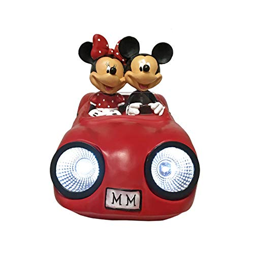 The Galway Company LED Solar Lighted Sports Car Mickey and Minnie Disney, Hand-Painted. Large 7 Inches Tall X 12 Inches in Length, Official Disney Licensed Product