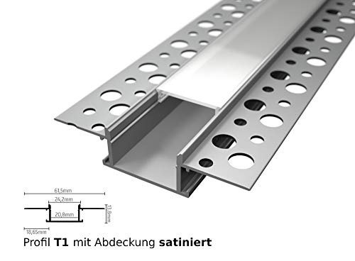 Tivendis LED Profil für LED Stripe 2m   Einputz rigips Aluminiumprofil   T1 mit Abdeckung satiniert