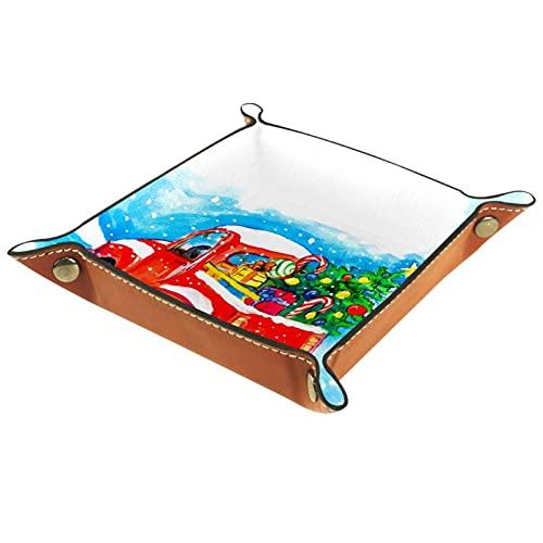 Caja de almacenamiento multiusos con bandeja valet de cuero Organizador de bandejas Se utiliza para almacenar pequeños accesorios.,árbol de navidad coche rojo en el espacio en blanco como la nieve