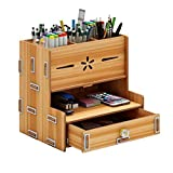1 porta-lápis para escrivaninha, organizador de mesa de madeira, multigrades, grande capacidade, organizador de papelaria