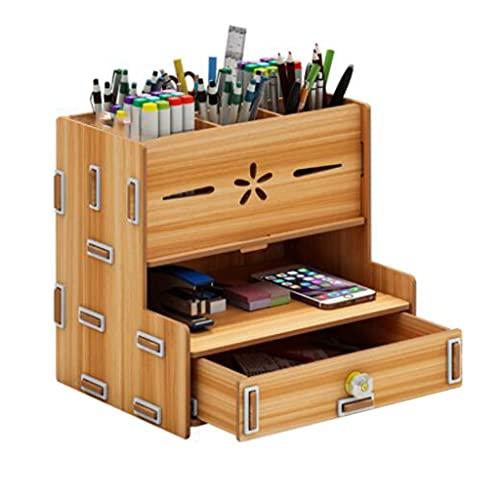 MIORIO Soporte Organizador de Escritorio de Madera 3 Capas 1 cajón 5 Compartimentos Caja organizadora de Mesa para Escritorio de Oficina en casa