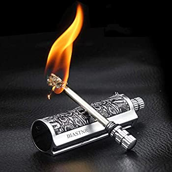 BIASTNR Lot de 2 allumettes permanentes avec allume-feu - Allume-feu - Flamme Immortel - Avec porte-clés - Briquet au kérosène rechargeable - Pour le camping et la randonnée