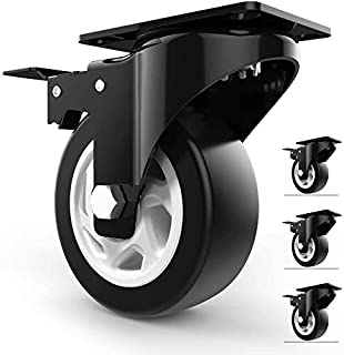 """4"""" Swivel Caster Wheels with Safety Dual Locking and Polyurethane Foam No Noise Wheels, Heavy Duty - 300 Lbs Per Caster (P..."""