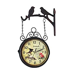 VOSAREA Double Sided Clock Iron Hanging Wall Clock Vintage Birds Poem Pattern with Wall Side Mount for Home Garden Hotel Decoration Without Battery
