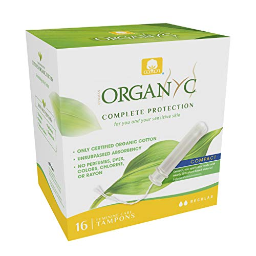 Organyc 100% Certified Organic Cotton Tampons – PlantBased EcoApplicator Normal Flow 16 Count White Regular