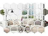 32 pcs pegatinas de pared espejo con imágenes claras,pegatina espejo pared decorativa,pegatina espejo baño,pegatinas hexagonales para pared,,espejos para la decoración de la pared de la sala de estar