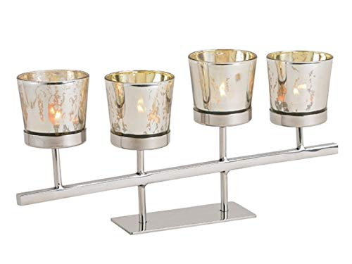 meindekoartikel Kerzenständer aus Metall mit 4 Windlichter aus Glas (Silber) Breite 33cm x Höhe 15cm x Tiefe 5cm – Teelichthalter Kerzenhalter