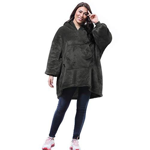 Kato Tirrinia Übergroße Sherpa Hoodie Sweatshirt Decke, SuperWeiche Warme Riesen Hoodie Fronttasche Giant Plüsch Pullover Decke mit Kapuze for Jungen Mädchen Teen Kinder, Grau