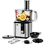 Food Processor - MAGICCOS 2021 Upgraded 7 in 1 Food Processor, 750W Powerful Food Chopper 8 Cup, 5 Speeds & Pulse for Chopping, (Wave) Slicing, Pureeing, Fine/Coarse Grating, Juicing & Emulsifying