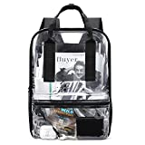 """mommore Heavy Duty Clear Backpack Durable See Through Bookbags for School, Work, 16"""" Transparent Large Backpack, Black"""