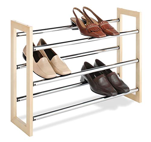 Whitmor 3 Tier Expandable Shoe Rack -Stackable - Natural...