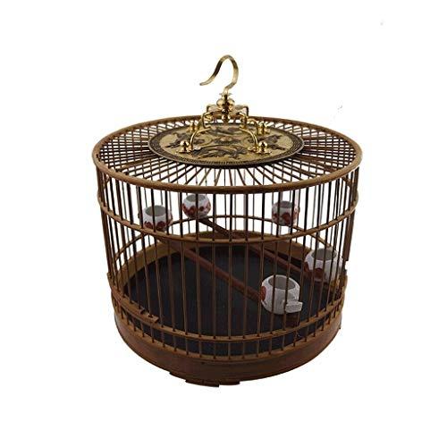SSG Home La Jaula de pájaros de Interior y al Aire Libre Nido de Aves de cría de bambú Ornamental Ronda Creativa Jaula pequeña decoración de Aves Pet Supplies