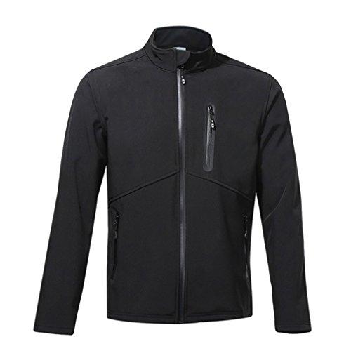 emansmoer Homme Coupe-Vent Doublé Polaire Mantel Résistant à l'eau Respirant Outdoor Sport Veste de Camping randonnée vélo (XXX-Large, Noir)