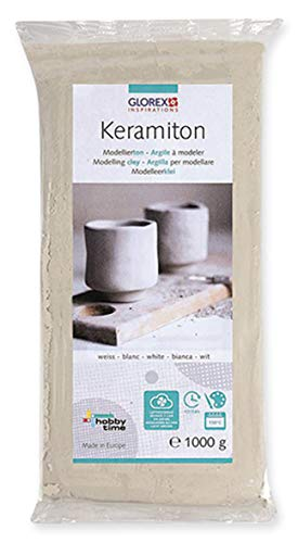 Keramiton weißModellierton Modelliermasse Tonmasse Töpferton Lufthärtend Basteln 1kg