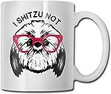 I Shitzu Non unico Tazza da caffè in ceramica bianca Tazza da tè per ufficio Divertimento a casa Novità Regalo 11 Oz Tazza da bevanda divertente per uomo Donna