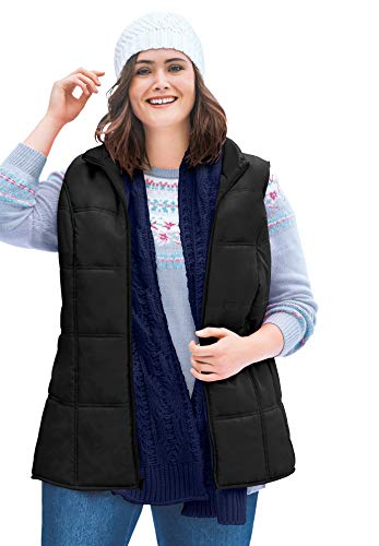 Woman Within Women's Plus Size Quilted Vest - 26/28, Black