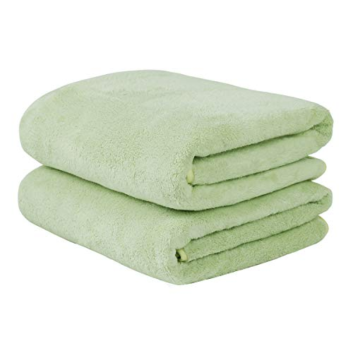 """JML Luxury Hotel & SPA Bath Towels (2 Pack, 30""""x60"""") - 350GSM High Density Fleece Towel Sets - Super Soft and Absorbent, Lint Free, Fade Resistant Oversized Bath Towel (Pack of 2-Light Green)"""
