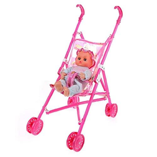 Sanfiyya 1pc Bricolage assemblé bébé Buggy Poussette poupée Maison Chariot Jouet (Couleur aléatoire)