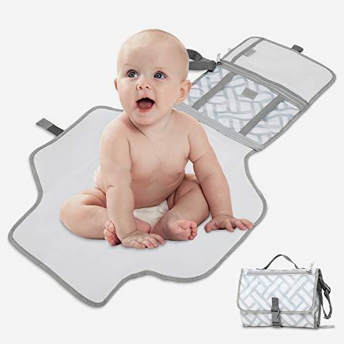 Cambiador Portátil de Pañales para Bebé LOORI, Portátil Cambiador, Bebé Portátil Cambio, Bebé Impermeable Seguro y Saludable(Gris y Blanco)