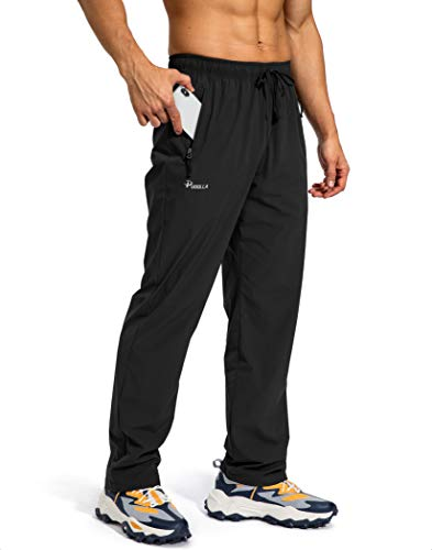 Pudolla Men's Workout Athletic Pants Elastic Waist Jogging Running Pants for Men with Zipper Pockets (Black Large)