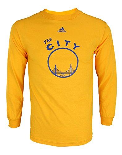 adidas NBA - Camiseta de manga larga para hombre, con gráficos, Atlético, Large, Golden State Warriors - Gold #2