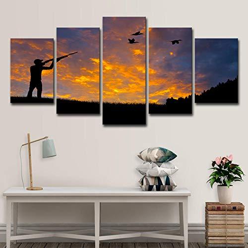 Murosn 5 Piezas Impresión Moderno Grande Decoración De Pared Artística En Cuadros sobre Lienzo Personalizadas Pájaro De Caza 150x80cm-Marco