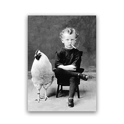 Cartel de estilo de fotografía vintage Chico divertido fumando con su pollo Mascota Retrato antiguo Arte de la lona Pintura Arte de la pared Decoración 20x28 pulgadas 1pcs Sin marco