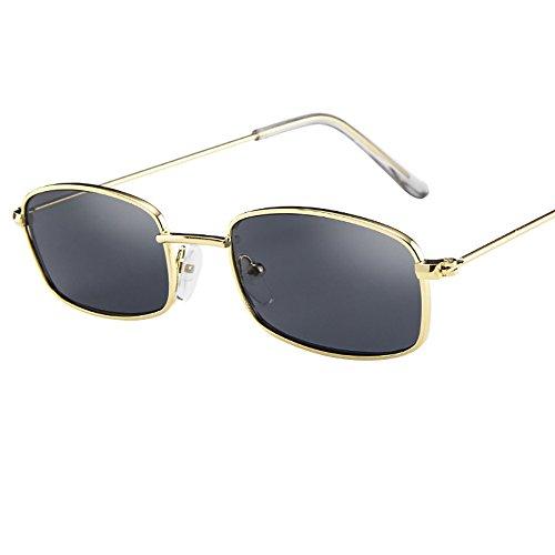 Wobang - Gafas de sol rectangulares para mujer y hombre, con efecto espejo y tintado, UV400 493 Talla única