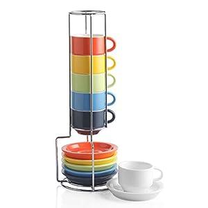 Sweejar Juego de taza y platillo de porcelana, tazas apilables Demitasse con soporte de metal, 2.5 oz para Latte, Cafe, Cafe, Moca, Tea, Juego de 6 multicolor