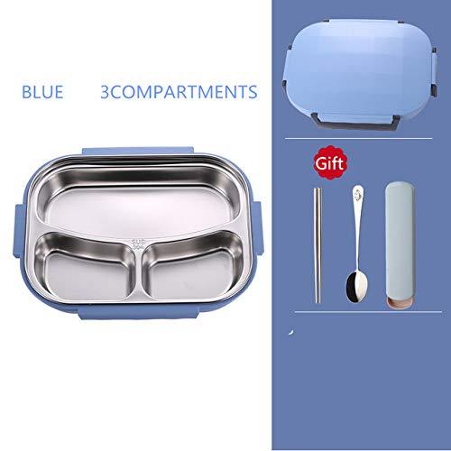 yylikehome Edelstahl-Brotdose Umweltfreundliche Bento-Box mit Taschen und Geschirr Vorratsbehälter für Thermokost Erwachsene Studenten Blau 3-Fach