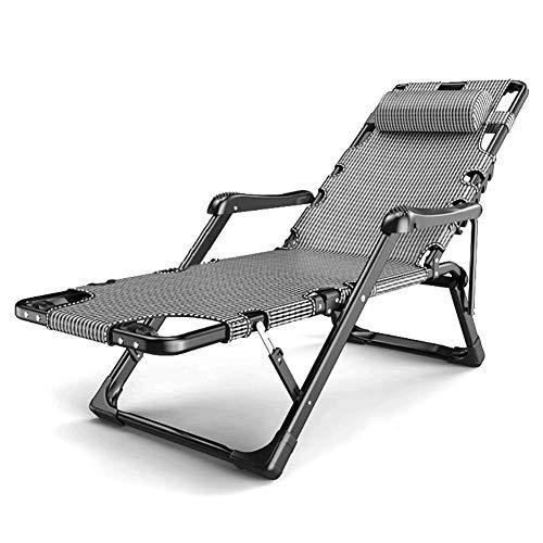 GCZZYMX - Tumbona reclinable de césped gris para piscina, gran tamaño de gravedad cero para personas pesadas, soporte de 400 libras