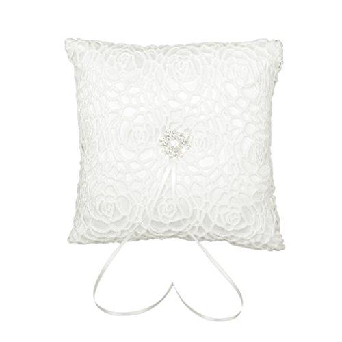 Coussin Porteur de Bague Motif de Fleur 20 x 20cm pour Mariage - Ivoire