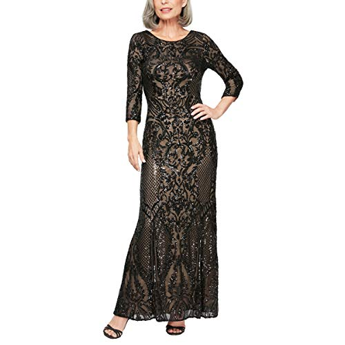Alex Evenings Women's Petite Long Sequin Dresses with ¾ Sleeves, Black/Nude, 8P