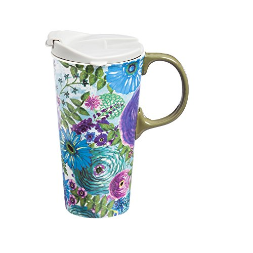 Watercolor Floral Ceramic Travel Cup - 5 x 7 x 4 Inches