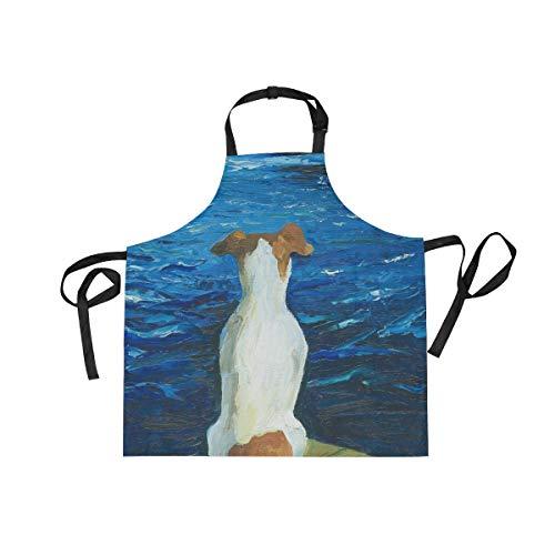 LORONA Zittende Hond Gemist De Boot Schort Unisex Keuken Verstelbare Bib Schort met 2 Zakken voor Koken Bakken Tuinieren voor Vrouwen Mannen Chef
