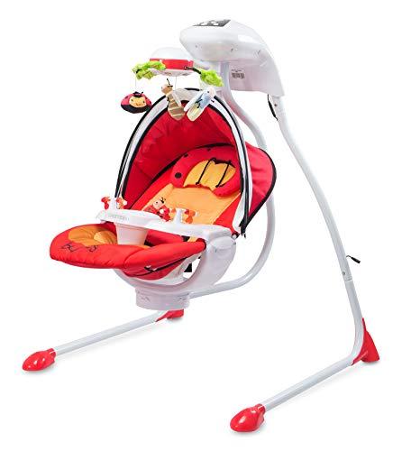 Caretero Bugies zusammenklappbare elektrische mobile Baby-Schaukelwippe rot | Musik Timer Moskitonetz Sonnenschutz 3 verschiedene Schaukelrichtungen