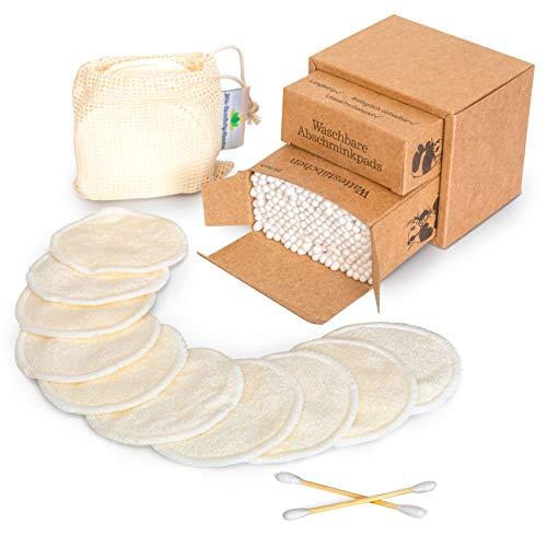 10 Stk. waschbare Abschminkpads + 200 Stk. Bambus Wattestäbchen & gratis E-Book und Wäschenetz, wiederverwendbare Wattepads, Ohrstäbchen, umweltfreundliche Gesichtspads, zero waste