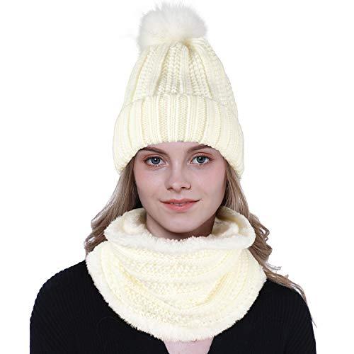 Tacobear Vrouwen Pom Beanie Hoed en Sjaal Set Winter Warm Kabel Gebreide Hoed Cirkel Loop Sjaal Nek Warmer Fleece Gevoerd Outdoor Ski Snowboard voor Dames en meisjes