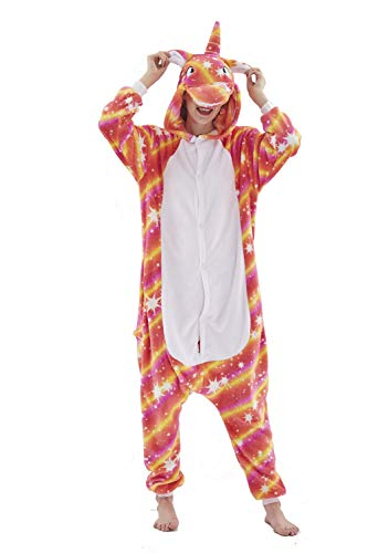 Unisex Cosplay Einhorn Pyjamas Kostüm Jumpsuit Tier,Can Star Licorne,S fit for Height 145-155CM...