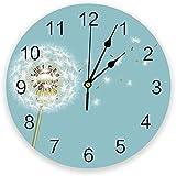 tuobaysj Reloj De Pared Planta De Diente De León Reloj De Pared Cocina Hogar Sala De Estar Dormitorio Decoración Niños Mural Reloj De Pared 25X25Cm
